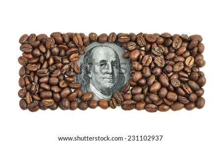 One hundred dollar bill made of coffee beans isolated over white background - stock photo