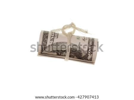 one hundred dollar bill on a white background - stock photo