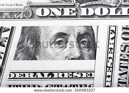 One hundred dollar bills background. - stock photo