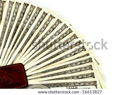 One hundred dollar bills background fanned from a money clip - stock photo