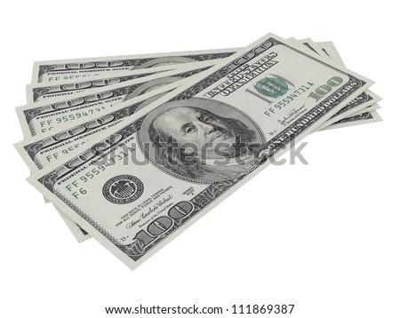 One hundred dollar bills, isolated on white. - stock photo