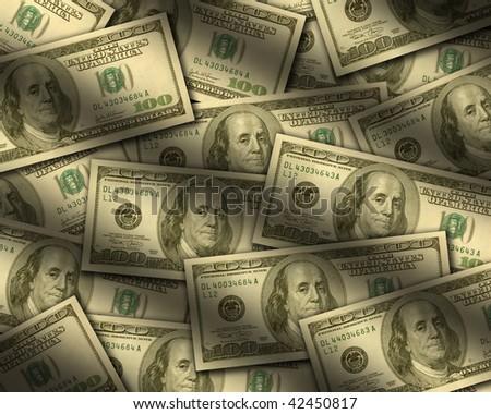 One hundred dollar bills lying flat, with window light raking across. Vertical - stock photo