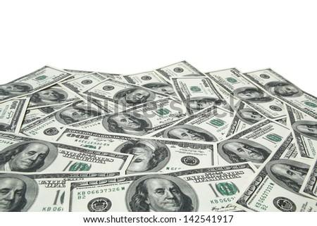 one hundred dollar bills on white background - stock photo
