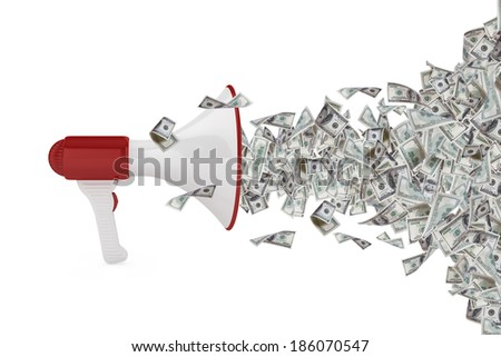 One hundred dollar money banknotes flying out of megaphone, isolated on white background. - stock photo