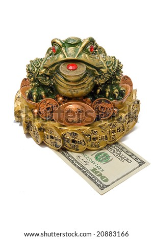 One hundred dollar under a three-pad frog with a coin, isolated on white - stock photo