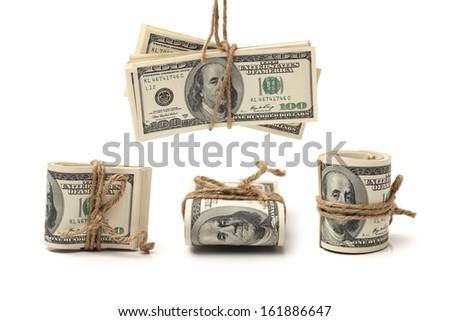 One hundred dollars banknote on white background  - stock photo