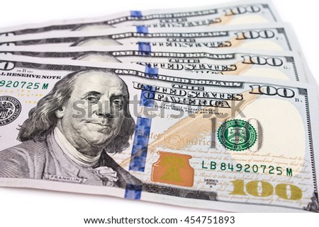 One hundred dollars banknotes background - stock photo