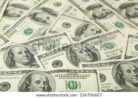 One hundred dollars bill background - stock photo