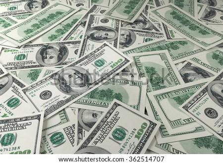 One hundred dollars bill background , 3d render - stock photo