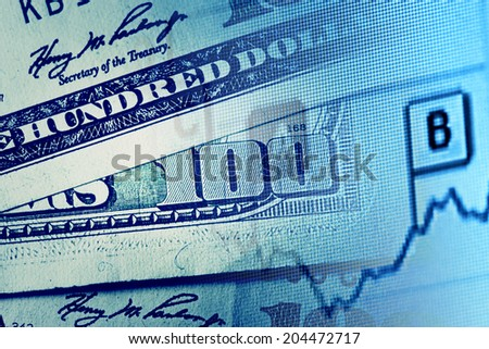 One hundred dollars. Macro image. - stock photo