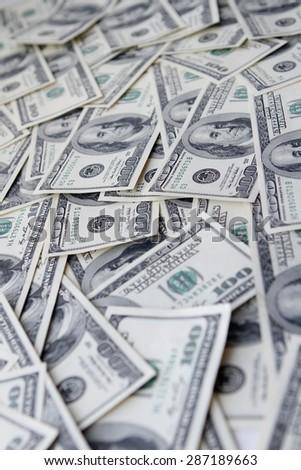 One hundred dollars notes background  - stock photo