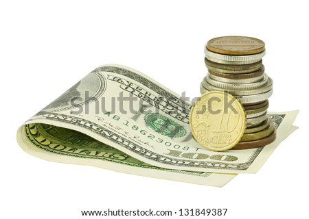 One hundred dollars under different coins with euro cent - stock photo
