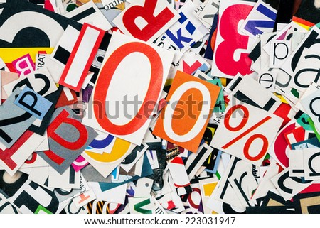 One hundred percent on abstract letters background  - stock photo