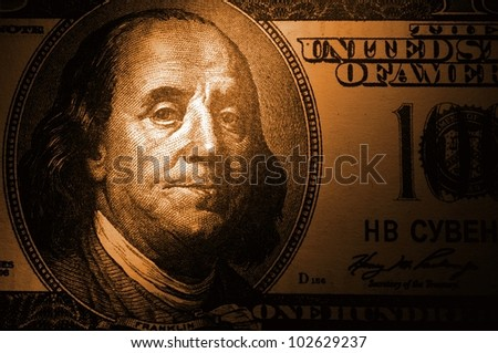 one hundred U.S. dollar shows a close-up - stock photo