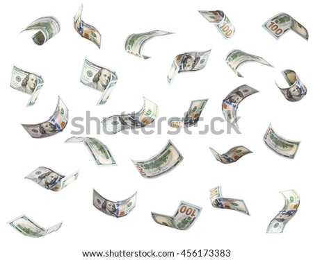 One hundred US dollar bills are falling. Isolated on white background. - stock photo