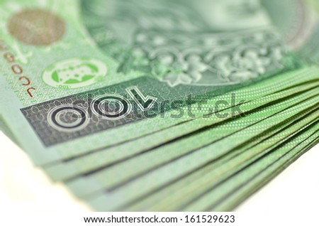 one hundred zloty banknotes from poland - stock photo