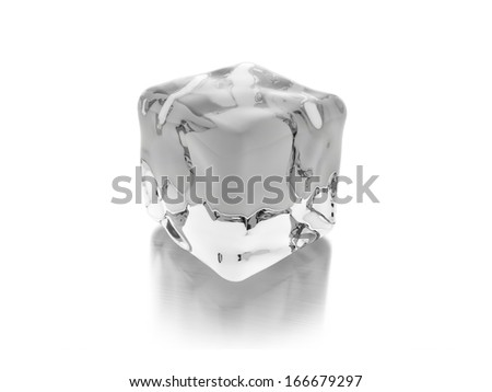 One ice cube rendered isolated on white - stock photo