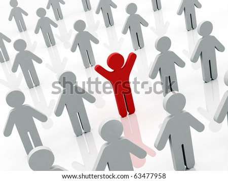 One in the crowd. Concept. - stock photo