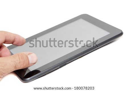 one 7-inch tablet black color - stock photo