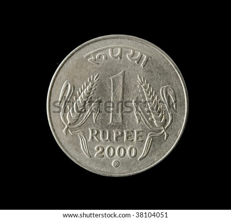 one indian rupee isolated on black background - stock photo