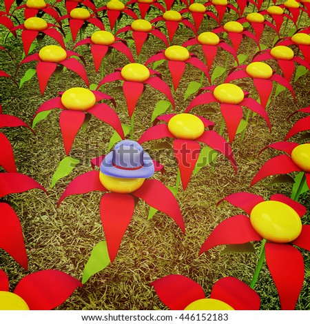 One individuality blue hat on a flower. 3D illustration. Vintage style. - stock photo