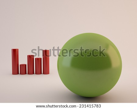 One individuality green sphere front of red cylinders - stock photo