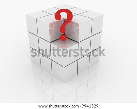 One individuality red question on the white backround - stock photo