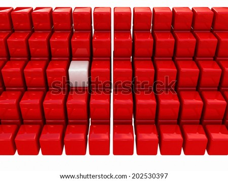 One individuality white cube among the red cubes isolated on white background - stock photo