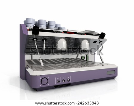 one industrial coffee machine and cup - stock photo