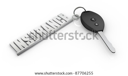 one key of a car with a keychain made with the word: insurance (3d render) - stock photo