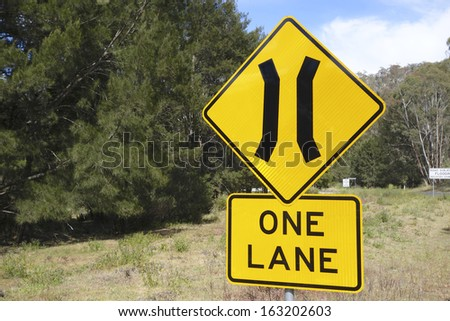 One Lane Merging Sign - stock photo