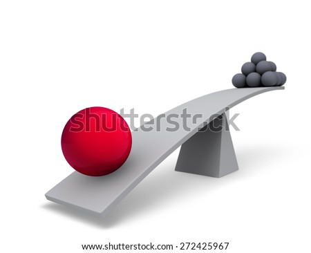 One large, red sphere weighs one end of a gray balance beam down while a pyramid of small gray spheres sits high in the air on the other end. Focus is on the red sphere.  Isolated on white.  - stock photo