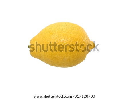 One lemon on white background. Clipping path is included - stock photo