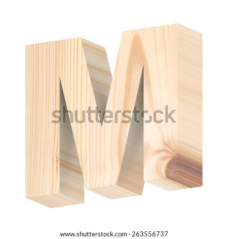 One letter from pine wood alphabet set isolated over white. Computer generated 3D photo rendering. - stock photo