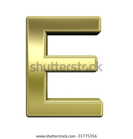 One letter from shiny gold alphabet set, isolated on white. Computer generated 3D photo rendering. - stock photo