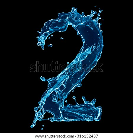 One letter of water alphabet on black background - stock photo