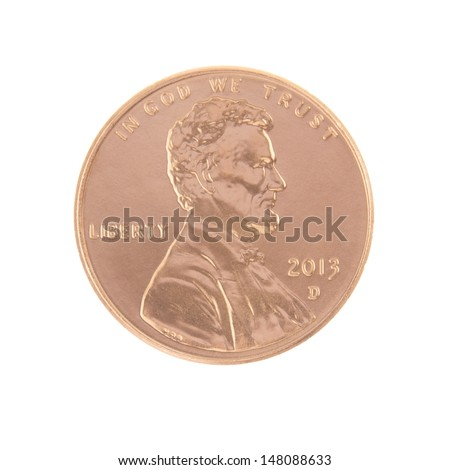 One 2013 Lincoln Penny Obverse - stock photo
