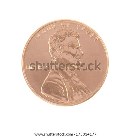 One Lincoln Penny Obverse with No Date - stock photo