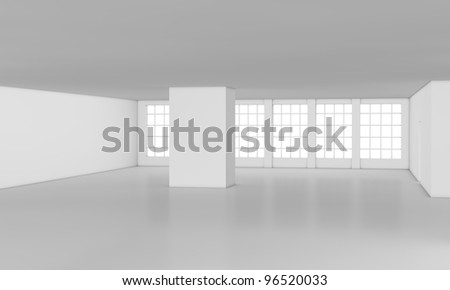 one loft with big windows, all white (3d render) - stock photo