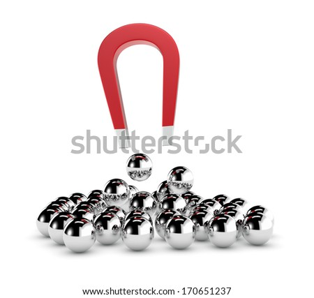one magnet and a group of spheres. some spheres are pulled by the magnet, concept of competition and leadership (3d render) - stock photo