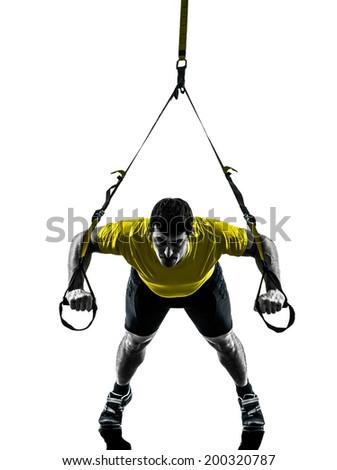 one  man exercising suspension training trx on white background - stock photo