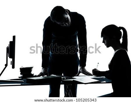 one man father professor and student teenager girl helping for homework in silhouette indoors isolated on white background - stock photo