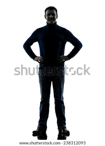 one  man full length in silhouette studio isolated on white background - stock photo
