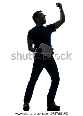 one man holding digital tablet in silhouette on white background - stock photo