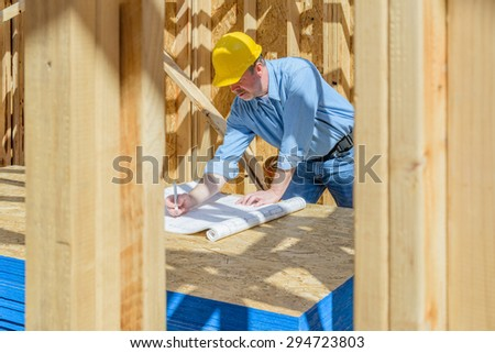 One man on construction site - stock photo