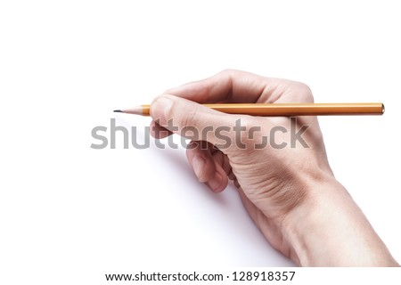 One man's hand with the pencil isolated on white background. free space - stock photo