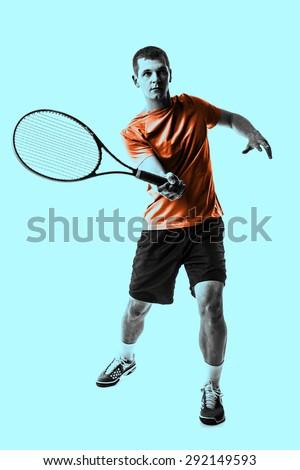 One man tennis player. - stock photo