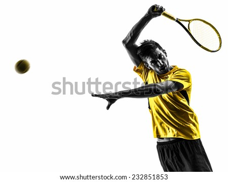one man tennis player portrait in silhouette on white background - stock photo