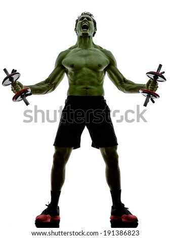 one man topless muscular exercising body building weights training  in silhouettes on white background - stock photo