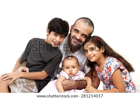 One Man Two Children and two babies - stock photo